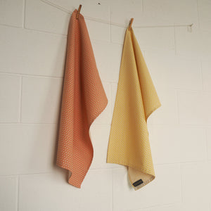 Set of Two Tea Towels Organic Cotton Orange Star and Yellow Triangle Patterns - bright stem