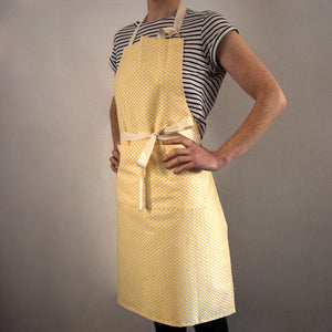 Adult Apron made from Organic Cotton featuring a Yellow Triangle Pattern