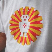 Ethical White T-Shirt with Ray the Robot Design Mens/Unisex