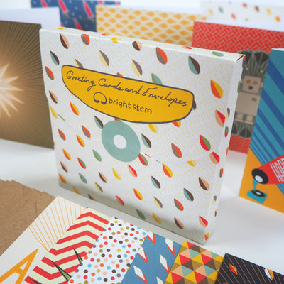 Bright Stem Recycled Greeting Cards mixed pack, vintage/retro style designs