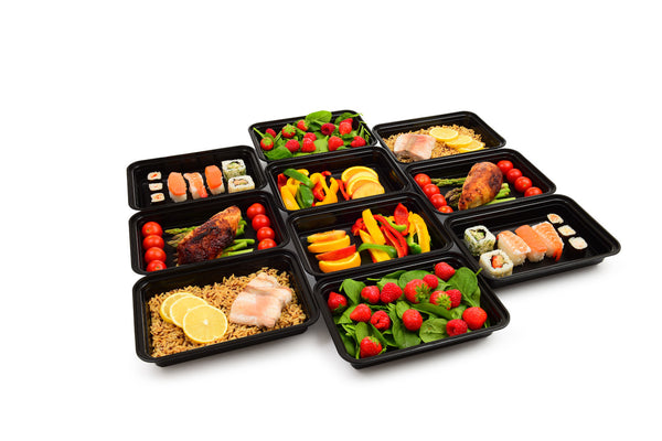 1 Compartment BPA Free Meal Prep Containers with Clear Lids. 10 pack [38 Fl. Oz/ 1.1L]