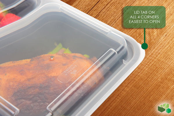 2 Compartment BPA Free Meal Prep Containers with Clear Lids. 10 pack. [30 Fl. Oz/800mL]