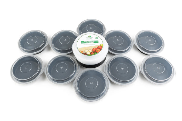 Round BPA Free Meal Prep Containers with Clear Lids. 10 pack. [24 Fl. Oz/ 680 mL]