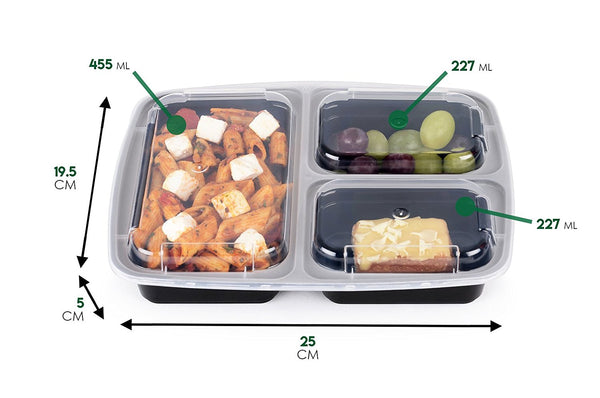 3 Compartment BPA Free Meal Prep Containers with Clear Lids. 7 pack. [36 Fl. Oz/ 1L]