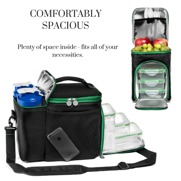Meal Prep Bag with Containers (3-Pack) & 2 Cooler Gel Packs