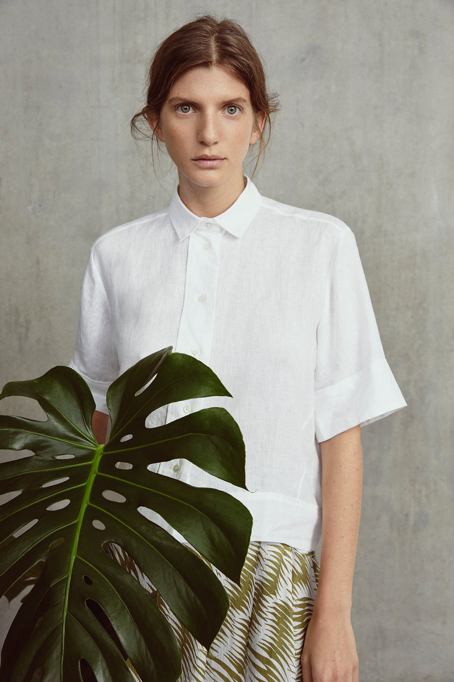 White Stella Boxy Button Linen Through Shirt