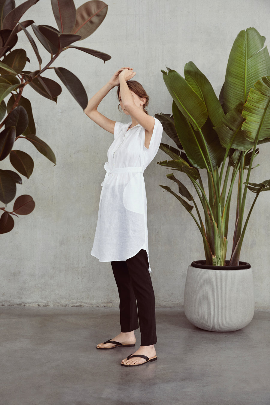 White Alex Sleeveless Linen Shirt Dress