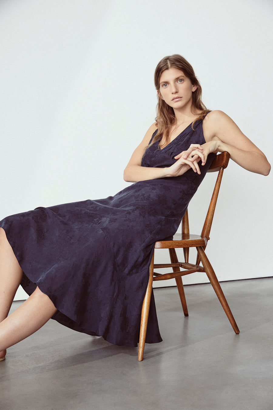 Navy Pearl 30S Slip Dress