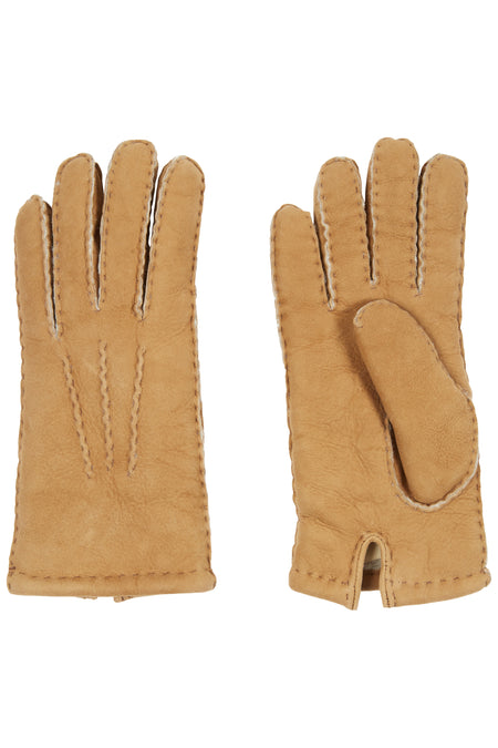 Camel Shearling Gloves