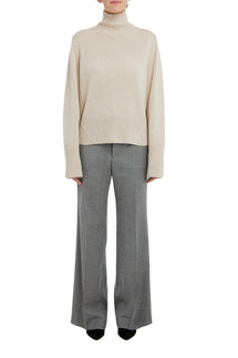 Oatmeal Melange Kara High Neck Cashmere Sweater