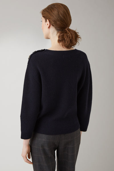 Ink Marisa Merino Shoulder Button Sweater