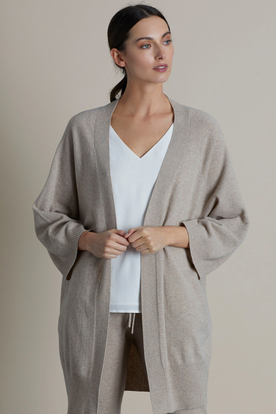 Pebble Melange Kimmy Wool & Cashmere Knitted Cardigan