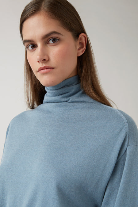 Dark Steel Kaya Roll Neck Cashmere Knit