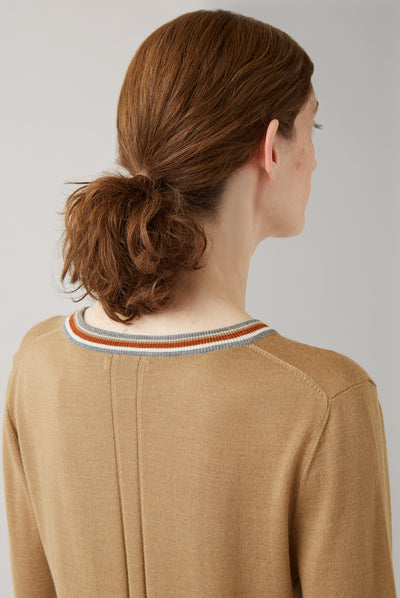 Caramel Freja V-Neck Tipped Sweater