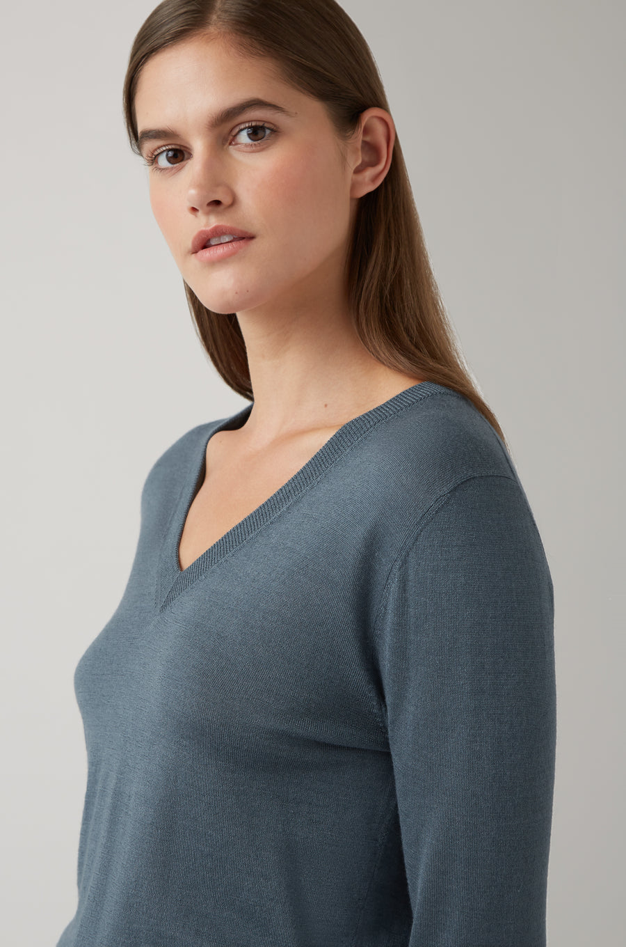 Dark Steel Freja V-Neck Tipped Sweater