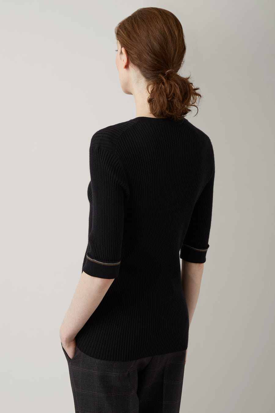 Black Ellen Rib 3/4 Sleeve Knit