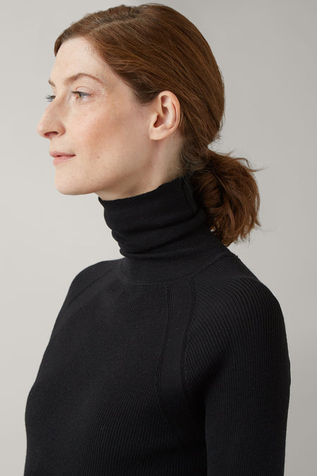 Black Ada Merino Skinny Rib Roll Neck