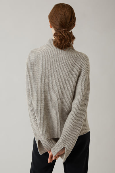 Pale Grey Lydia Thick Rib Cashmere Knit