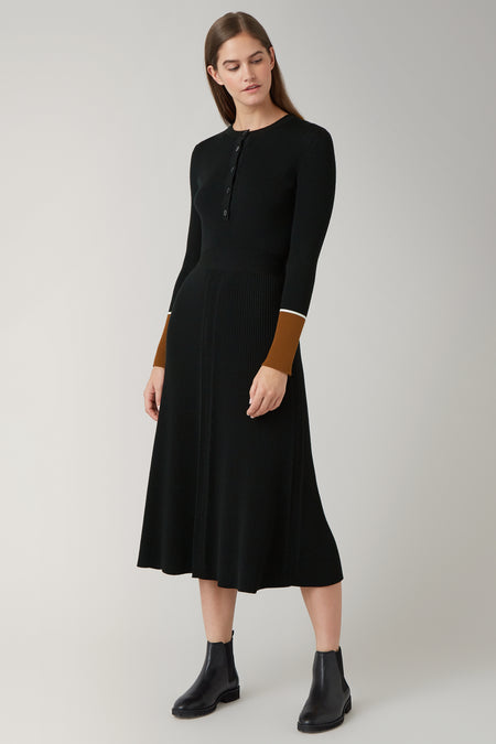 Black/Dark Camel Nadia Merino Knitted Dress