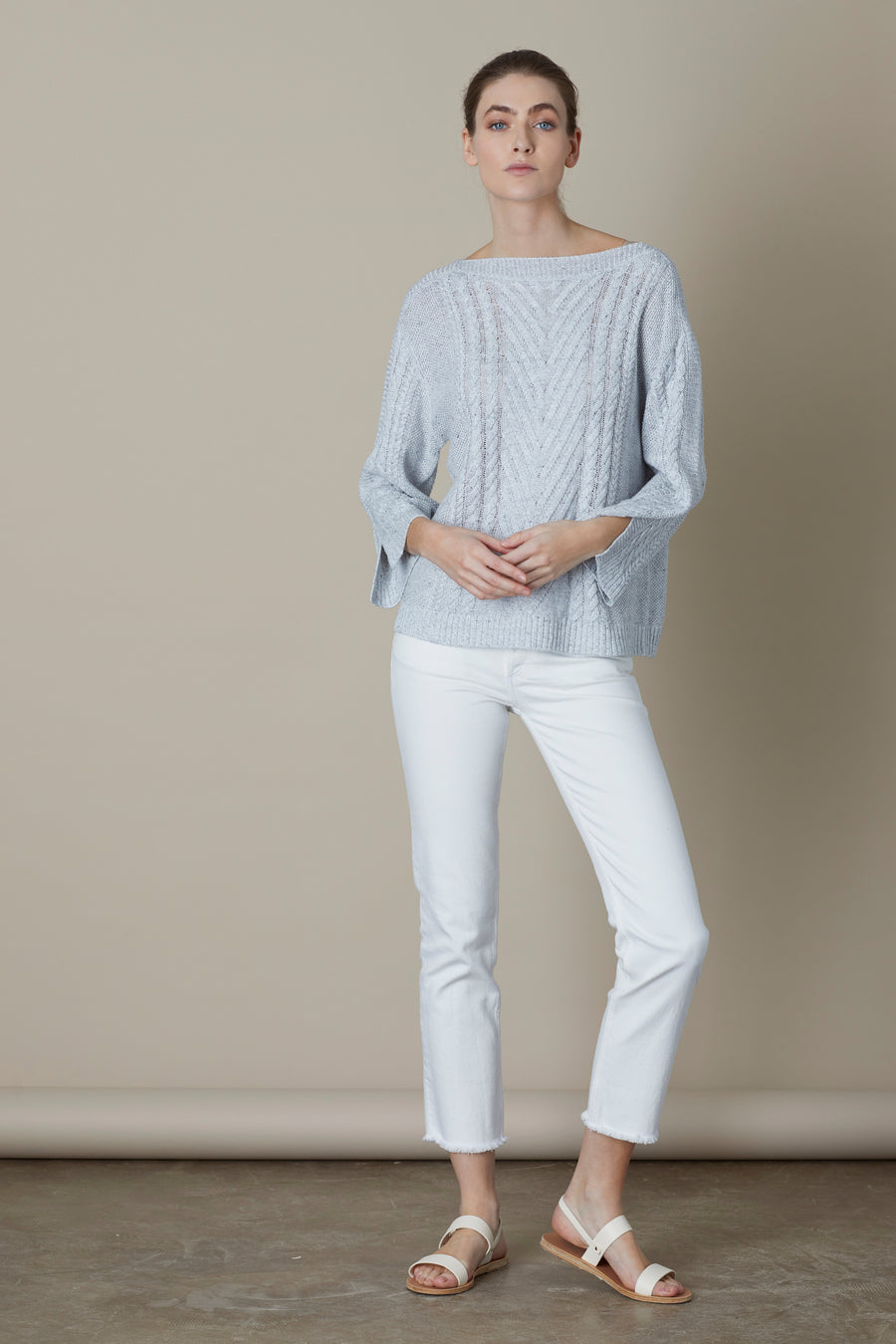 Ice Lottie Cable Boat Neck Linen Knit