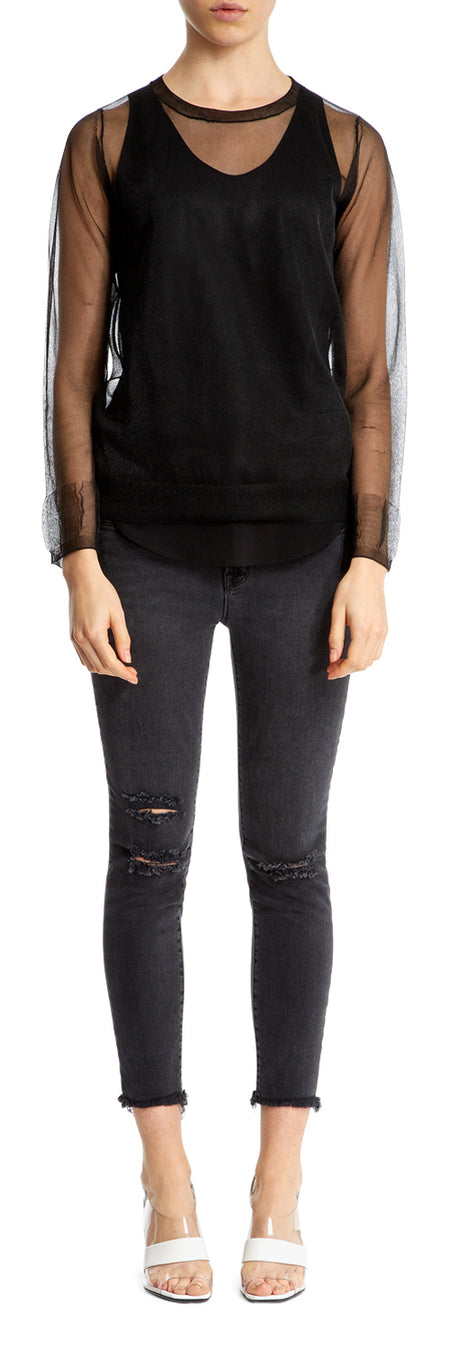 Black Sheer Knitted Jumper