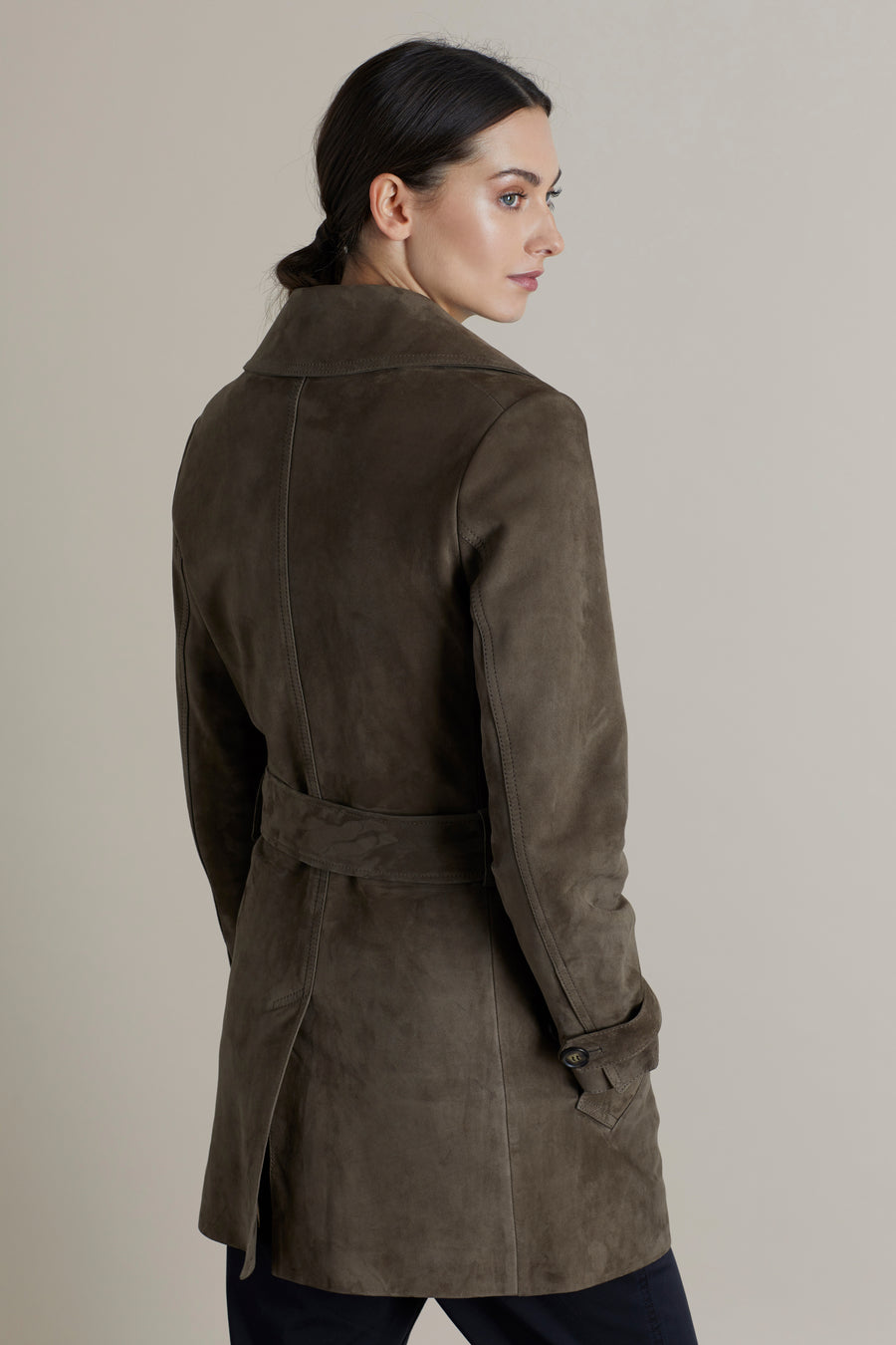 Olive Sam Suede Trench Coat