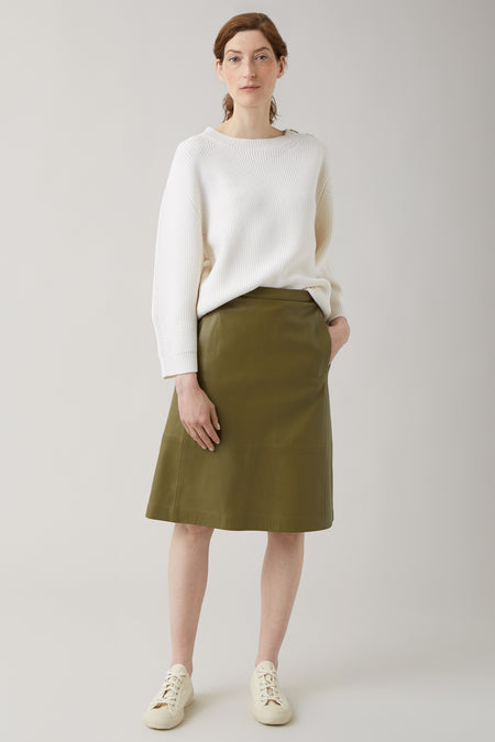 Olive Ines Elastic Waist Leather Skirt
