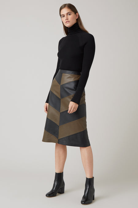 Black Mari Leather Chevron Skirt