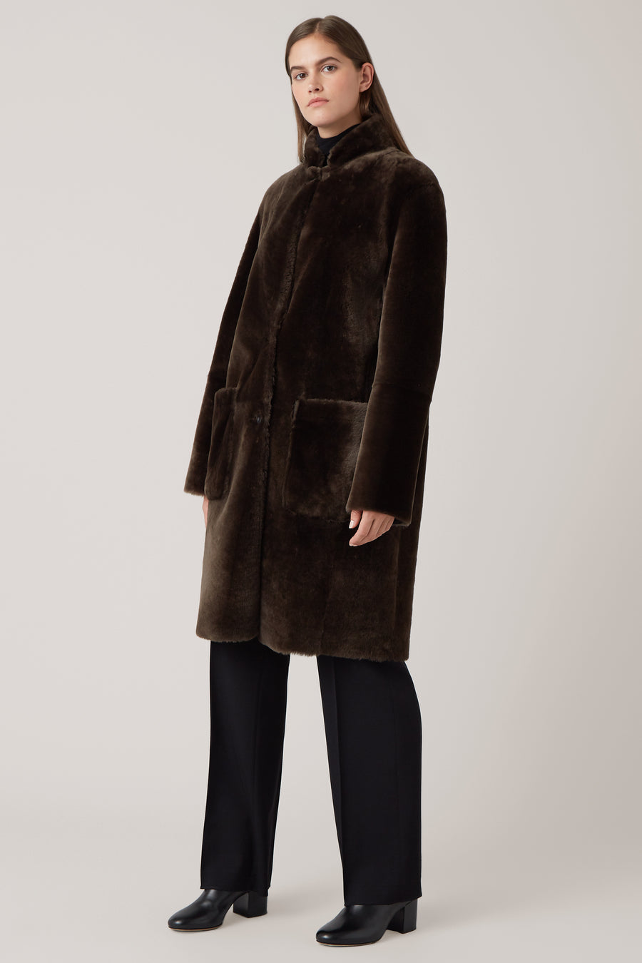 Dark Olive Sigrid Reversible Shearling