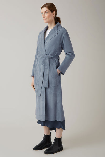 Steel Natasha Suede Belted Collarless Coat