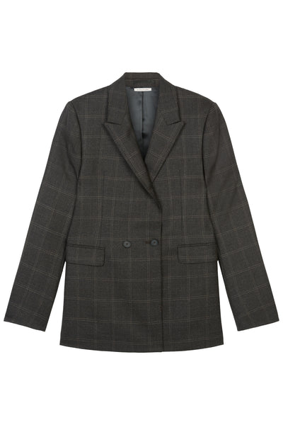 Dark Pecan Fran Wool Check Blazer