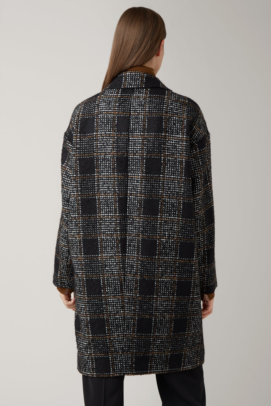 Black/Nutmeg Mona Wool Check Coat