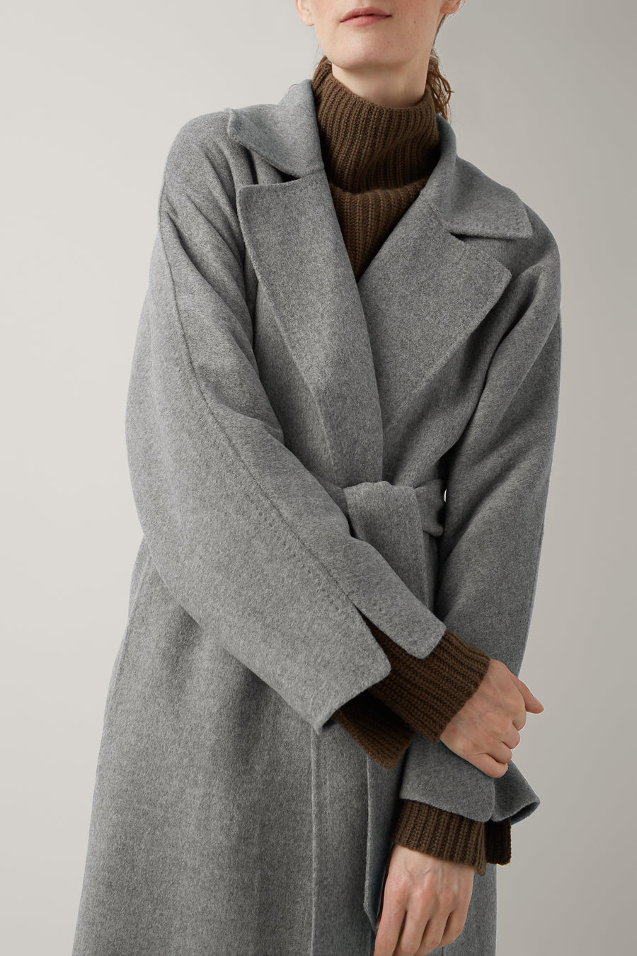 Grey Melange Kassi Double Face Wool Coat