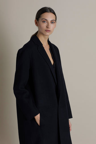 Black Charlie Edge To Edge Wool & Cashmere Coat