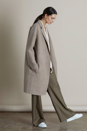 Dark Oyster Charlie Edge To Edge Wool & Cashmere Coat