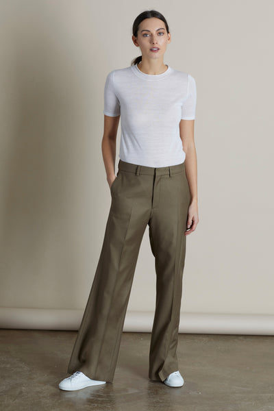 Dark Camel Lily Wide Leg Wool Trouser