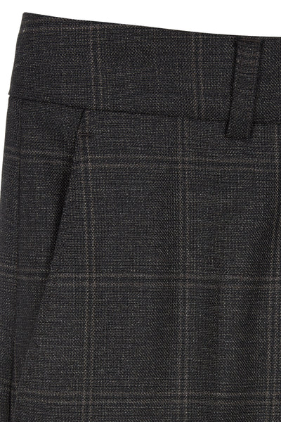 Dark Pecan Karin Wool Check Tailored Trouser