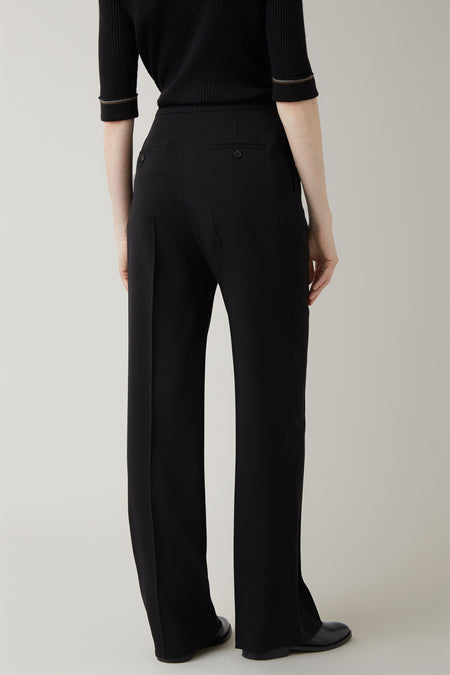 Black Gerda Structured Wool Trouser