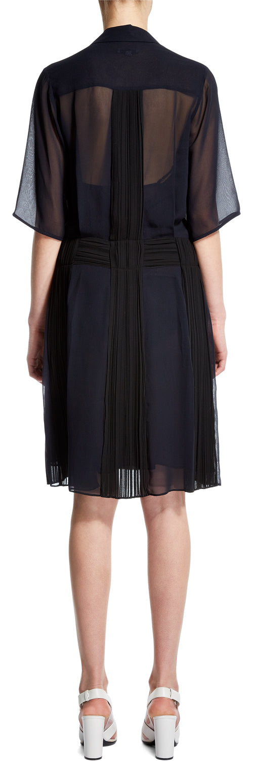 Black/Navy Plisse Pleat Dress