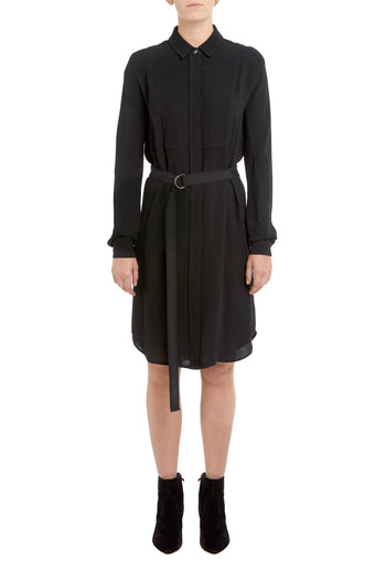 Black Evie Bib Front Shirt Dress