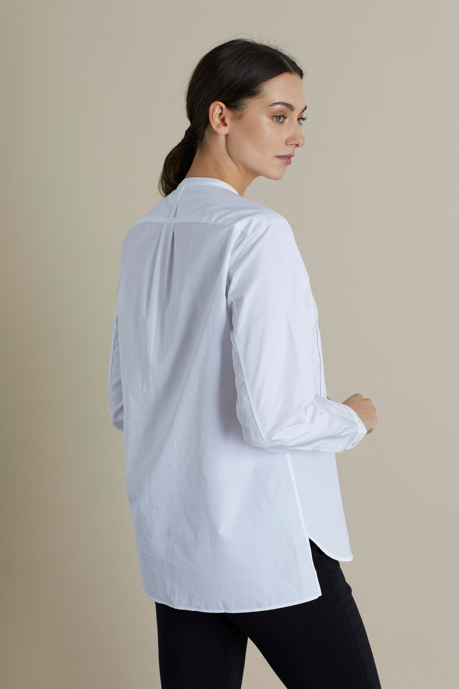White Lela Cotton Pintuck Bib Blouse