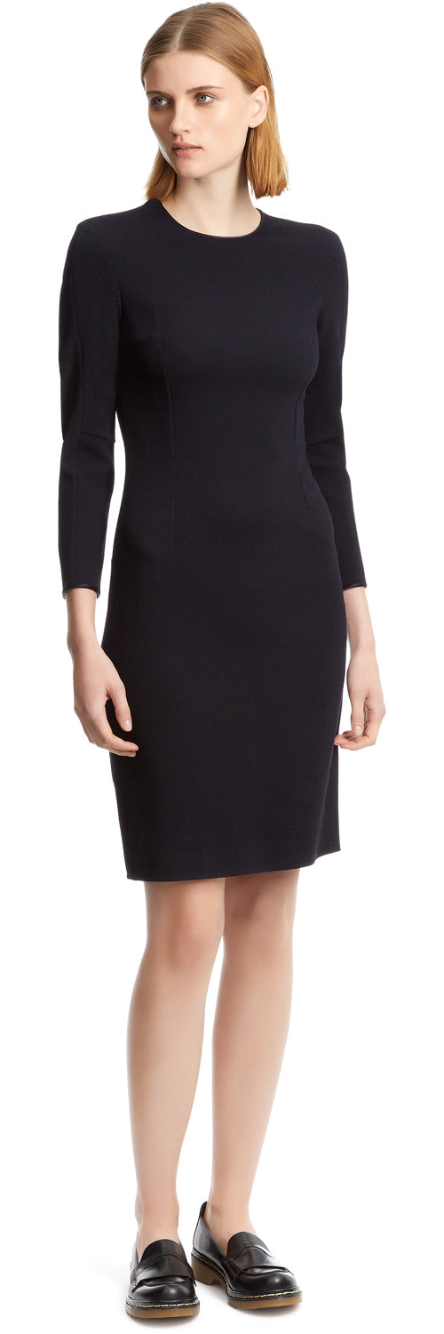 NAVY Drill Fitted Dress