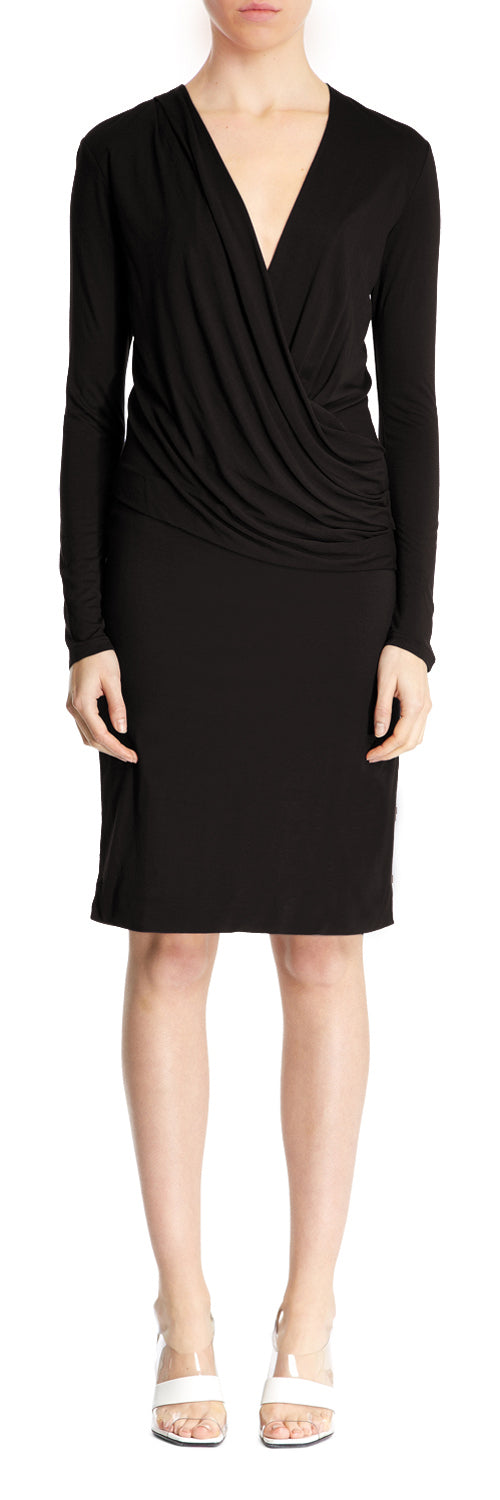 Black V Neck Drape Dress