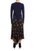 Black/Multi Beth Panelled Flare Silk Skirt