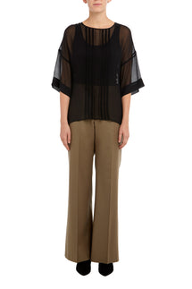 Black Lottie Pin Tuck Silk Top