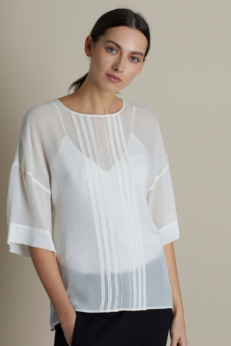 Parchment Lottie Pin Tuck Silk Top