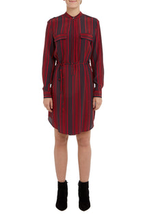 Rosso/Navy Melanie Winter Stripe Silk Dress