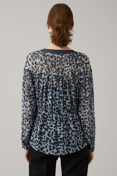 Ice/Graphite Odette Silk Keyhole Wrap Top