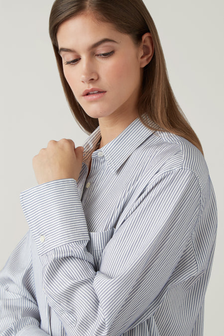 Steel Taylor Silk/Cotton Oversized Stripe Shirt