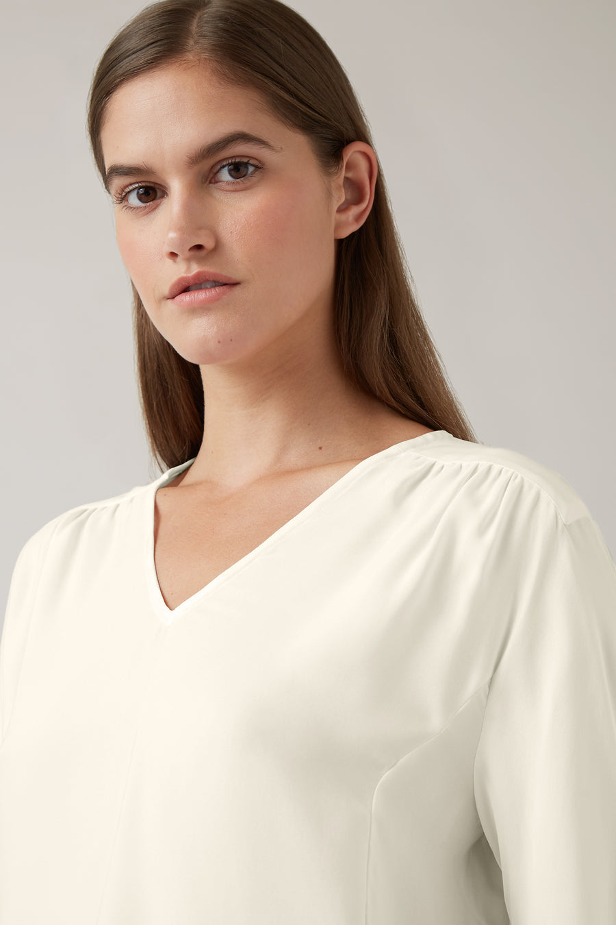 Latte Maeve Silk Panelled V Neck Blouse